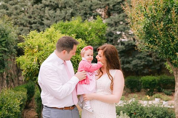 Floral βάπτιση κοριτσιού σε ροζ και χρυσές αποχρώσεις
