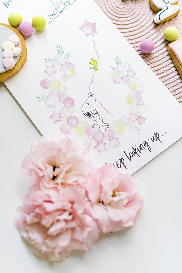 unique-girl-baptism-ideas-pink-yellow-hues-themed-snoopy_06