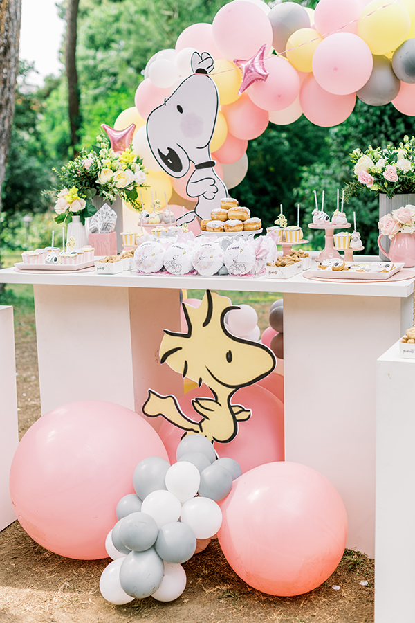 unique-girl-baptism-ideas-pink-yellow-hues-themed-snoopy_12x