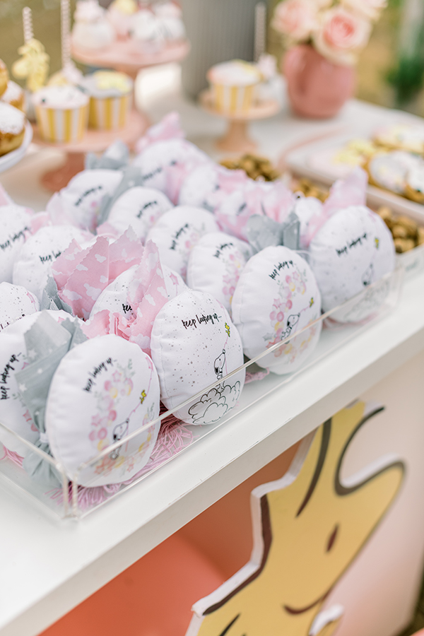 unique-girl-baptism-ideas-pink-yellow-hues-themed-snoopy_19
